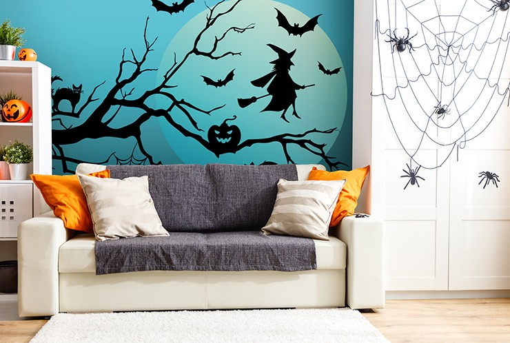 blue and black witch, bats and cat halloween wallpaper in orange and white lounge