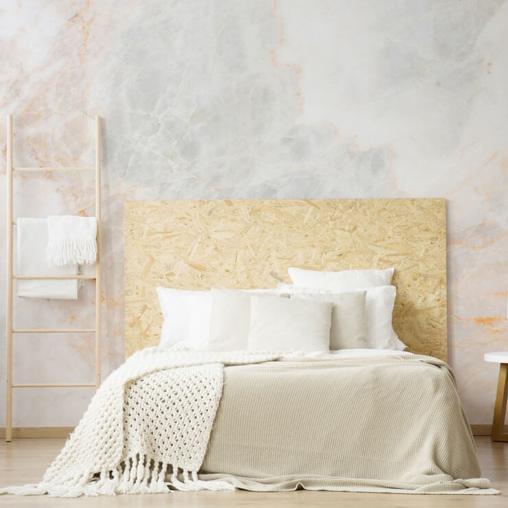 off-white and peach marble wallpaper in minimalist bedroom