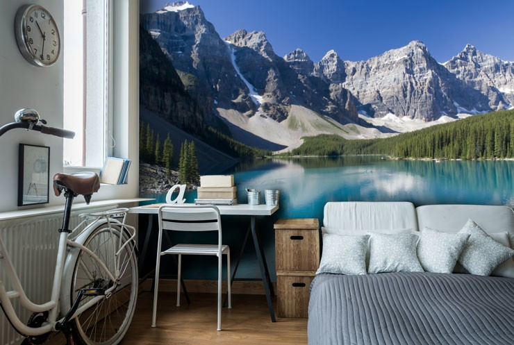 snowy mountains with sky blue lake in a trendy bedroom