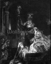 Presentation in the Temple, 1654 (mezzotint) (b/w photo) wall mural thumbnail