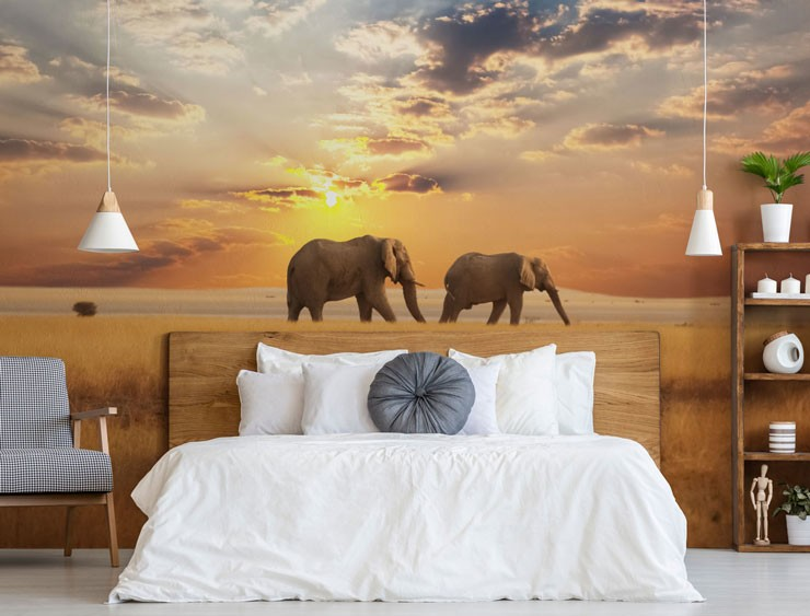elephants at sunset wallpaper in calming bedroom
