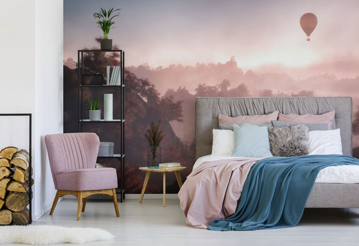 hot air balloon over forest at sunset wallpaper in beautiful bedroom