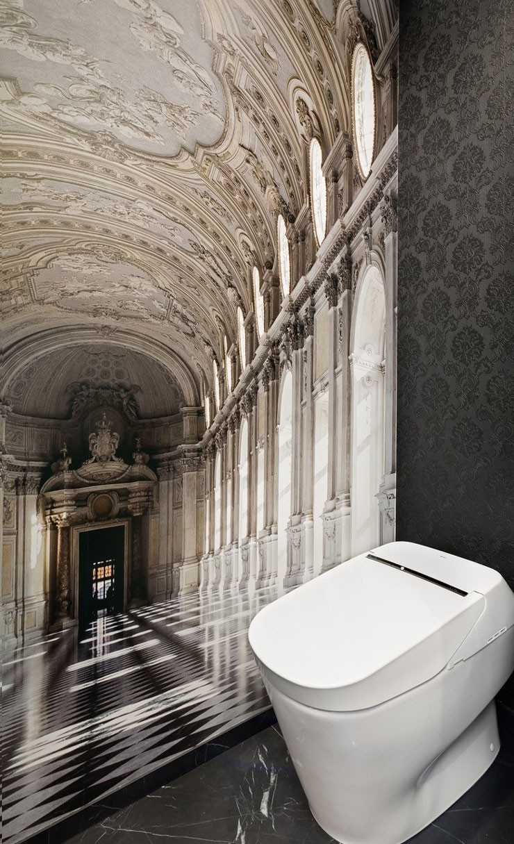 restroom with Italian palace ball room wallpaper