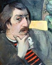 Portrait of the Artist with the Idol, c.1893 (oil on canvas) wall mural thumbnail