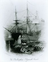 The Bellerophon at Plymouth Sound in 1815, 1834-36 (engraving) wallpaper mural thumbnail