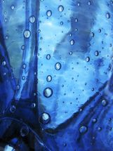Extreme Close-Up Of Water Droplets On Blue Surface mural wallpaper thumbnail