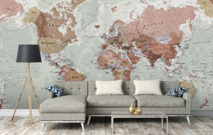 World Map Wallpaper. Wall Mural Wallpaper