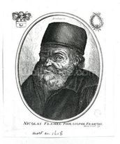 Nicolas Flamel (c.1330-1418) engraved by Balthazar Moncornet (c.1600-68) (engraving) (b/w photo) mural wallpaper thumbnail
