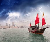 Hong Kong Harbour Boat wall mural thumbnail