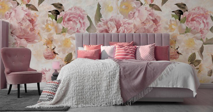 pastel pink, yellow, green and cream floral statement wallpaper in pink master bedroom