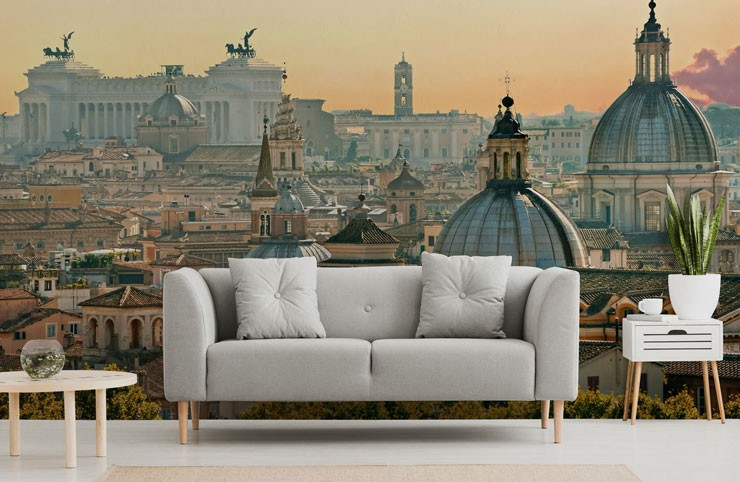 rome in the evening wallpaper in a minimalist lounge