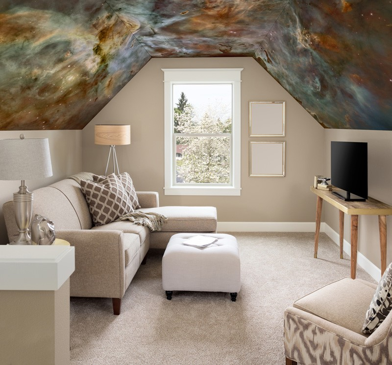 Space-wallpaper-on-loft-ceiling