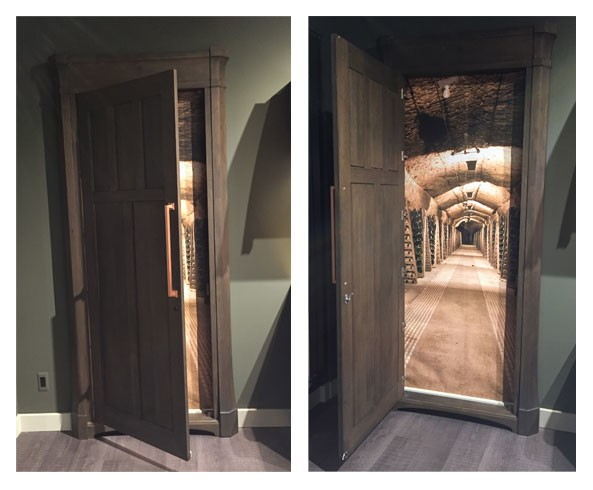 door in kitchen to illusion wine cellar