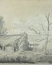 Landscape with Barn, c.1795 (graphite & wash on paper) mural wallpaper thumbnail
