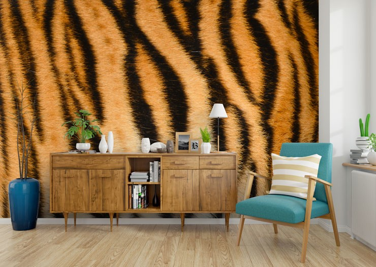 tiger wallpaper in a trendy living room