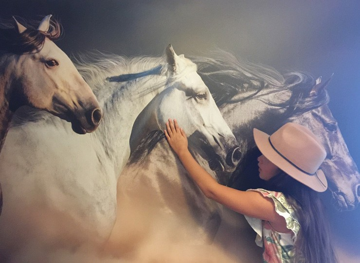 3d effect horse wallpaper with young girl stroking one of the horses