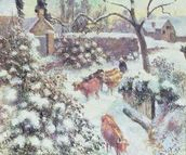Effet de Neige a Montfoucault, 1882 (oil on canvas) mural wallpaper thumbnail