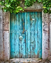 Bright Blue Wooden Door mural wallpaper thumbnail