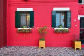 Red Village House Burano Island wall mural thumbnail
