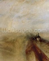 Rain Steam and Speed, The Great Western Railway, painted before 1844 (oil on canvas) wall mural thumbnail