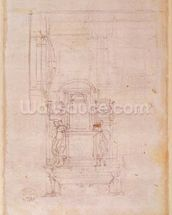 Preparatory drawing for the tomb of Pope Julius II (1453-1513) (charcoal on paper) (verso) wall mural thumbnail