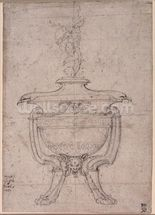 Study of a decorative urn (pen and ink on paper) wallpaper mural thumbnail