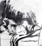 Sick woman in a bed, maybe Saskia, wife of the painter, c.1640 (pen & bistre on paper) (b/w photo) wall mural thumbnail