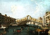 The Rialto in Venice (oil on canvas) wall mural thumbnail