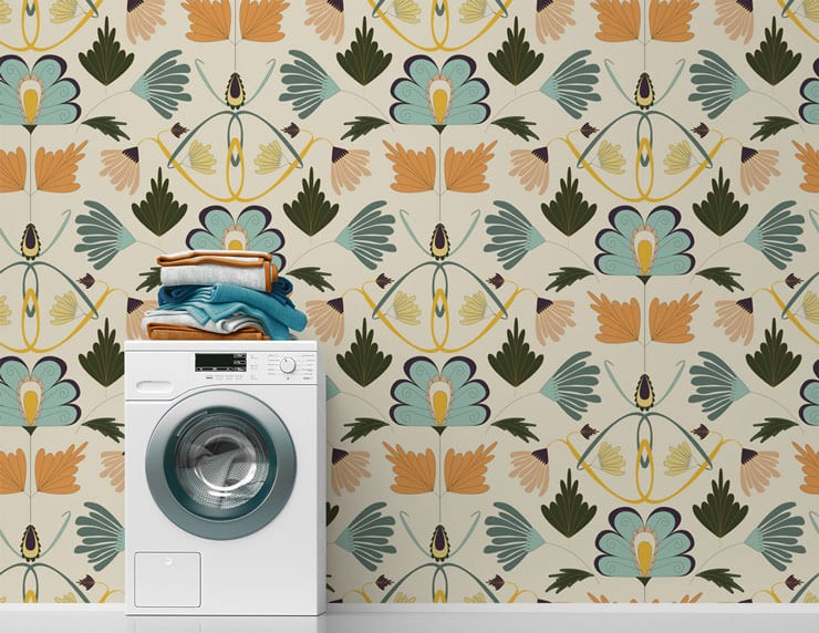 orange, teal floral wallpaper in antique style in simple laundry room
