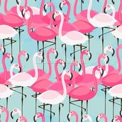 Flock of Flamingos mural wallpaper thumbnail