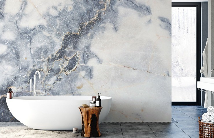 bathroom with marble wallpaper feature wall