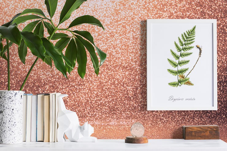 pretend pink glitter wallpaper next to book shelf and tropical plant