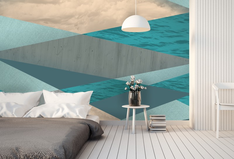 Ocean Tones Blue Geometric Wallpaper from Wallsauce