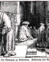 Jews in the Synagogue in Amsterdam, engraved by the artist (b/w photo) mural wallpaper thumbnail