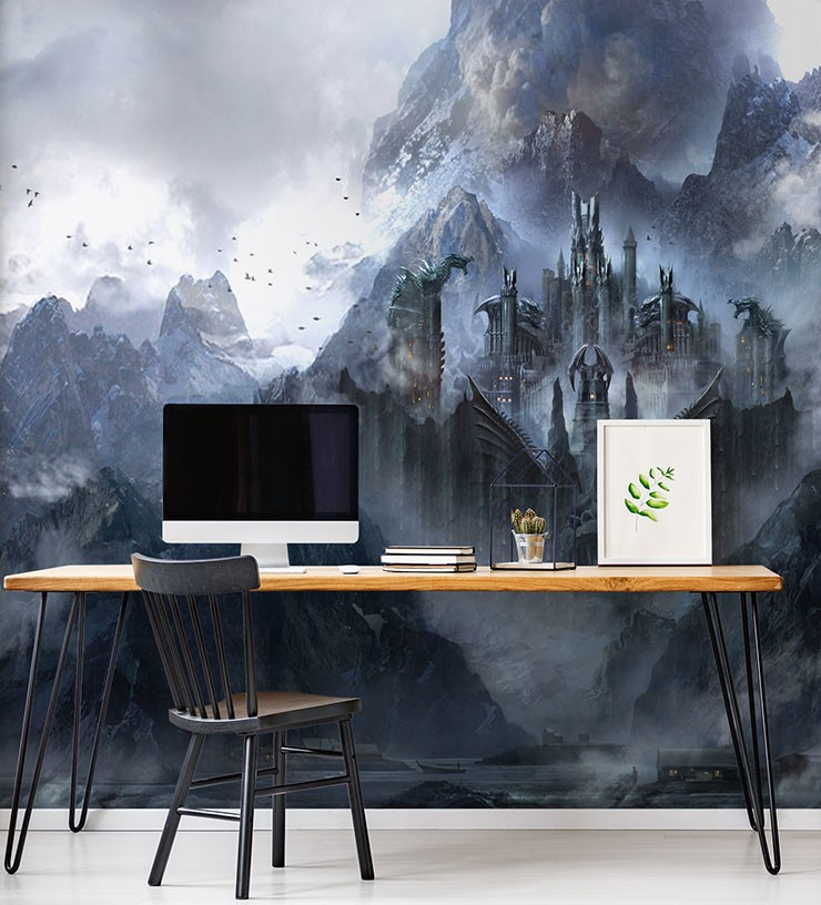 misty dragon castle wall mural in home office