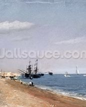 Brighton Beach with colliers, 1824 (oil on paper) wallpaper mural thumbnail