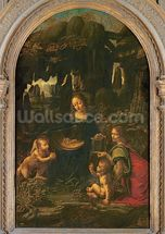 Madonna of the Rocks, c.1478 (oil on panel transferred to canvas) wallpaper mural thumbnail