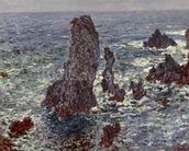 The Rocks at Belle-Ile, 1886 (oil on canvas) wallpaper mural thumbnail