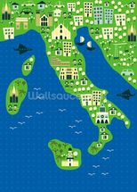 Cartoon map of italy wallpaper mural thumbnail