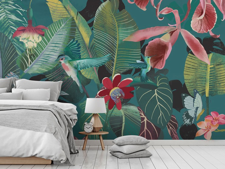 Tropical wallpaper in bedroom by Uta Krogmann