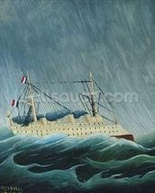 The storm-tossed vessel, c.1899 (oil on canvas) wall mural thumbnail