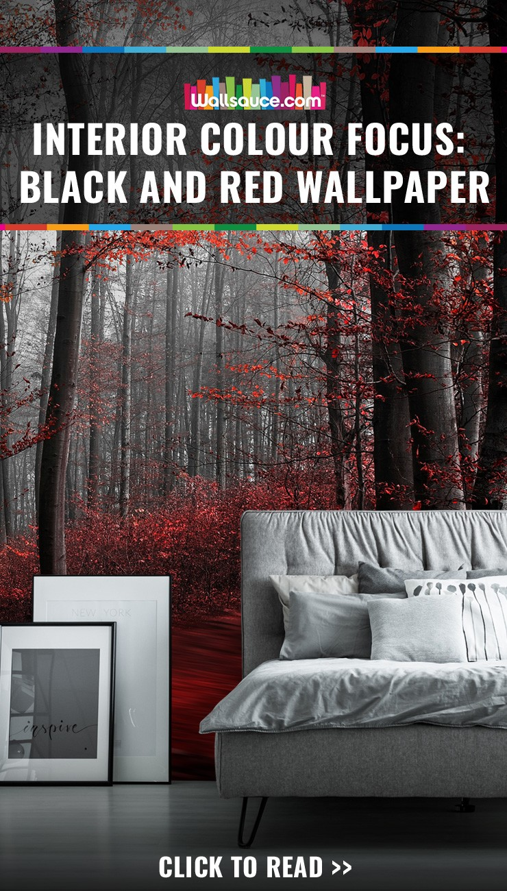 Turn your interior colour focus to black and red wallpaper