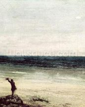 The Artist on the Seashore at Palavas (oil on canvas) mural wallpaper thumbnail