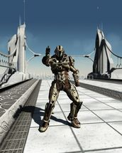 Space Marine Trooper on the Bridge wallpaper mural thumbnail