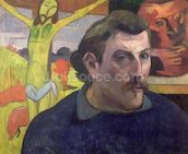 Self Portrait with the Yellow Christ, 1890 (oil on canvas) wall mural thumbnail