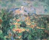 Montagne Sainte-Victoire from Lauves, 1904-06 (oil on canvas) wall mural thumbnail