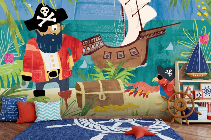 colourful illustration of pirate and parrot on an island wallpaper in sailor themed child's bedroom