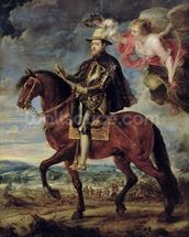Philip II (1527-98) Crowned by Victory, 1628 (oil on canvas) wallpaper mural thumbnail