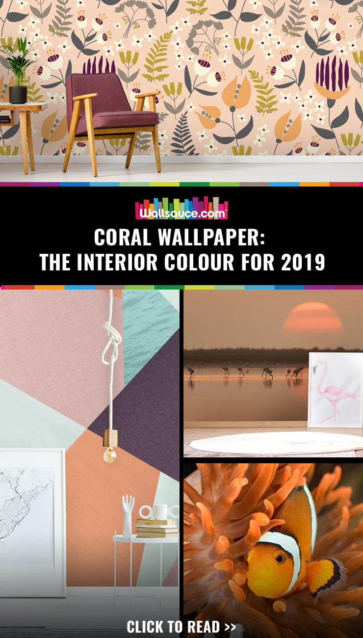 Coral wallpaper - The interior colour for 2019