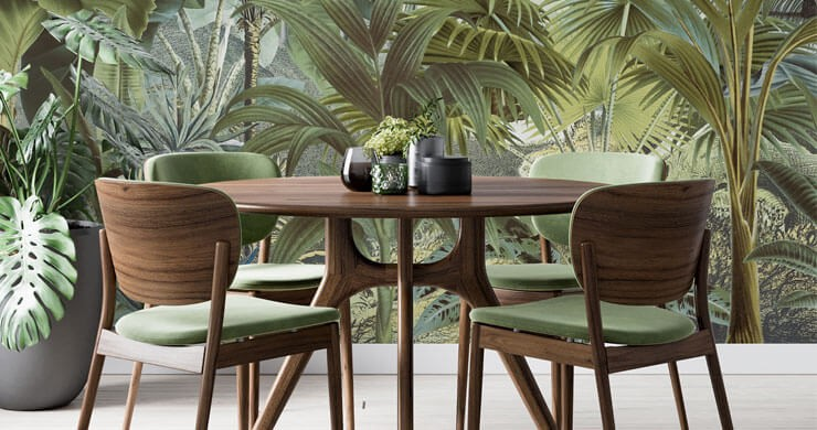 dark green jungle wallpaper in dark wood and green dining room